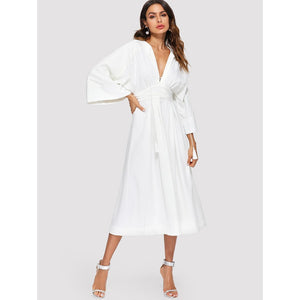 Plunging Kimono Sleeve Tassel Tie Dress White