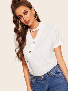 V-cut Neck Button Front Blouse