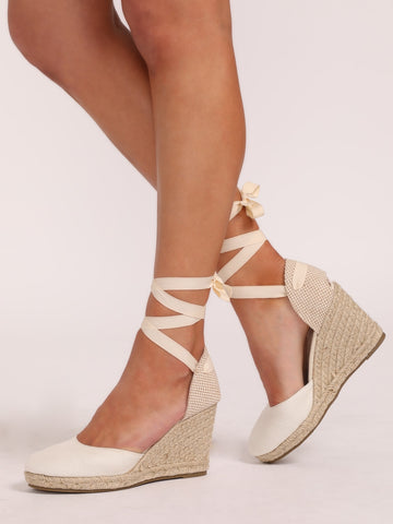 Ankle Wrap Closed Toe Espadrille Wedges