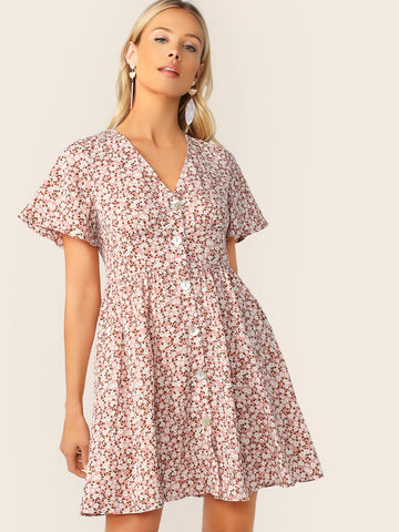 Ditsy Floral Tassel Knot Backless Button Front Tea Dress