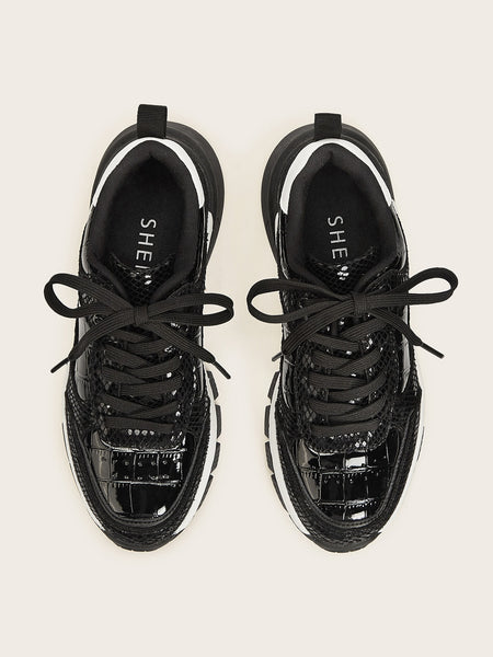 Contrast Mesh Lace-up Front Sneakers