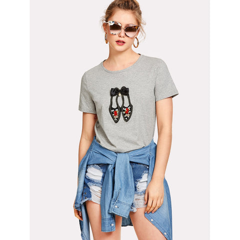 Lovely Shoes Applique T-shirt Grey