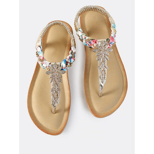 90f822c721357 Multi Braid Embellished Thong Sandals GOLD - Anabella s