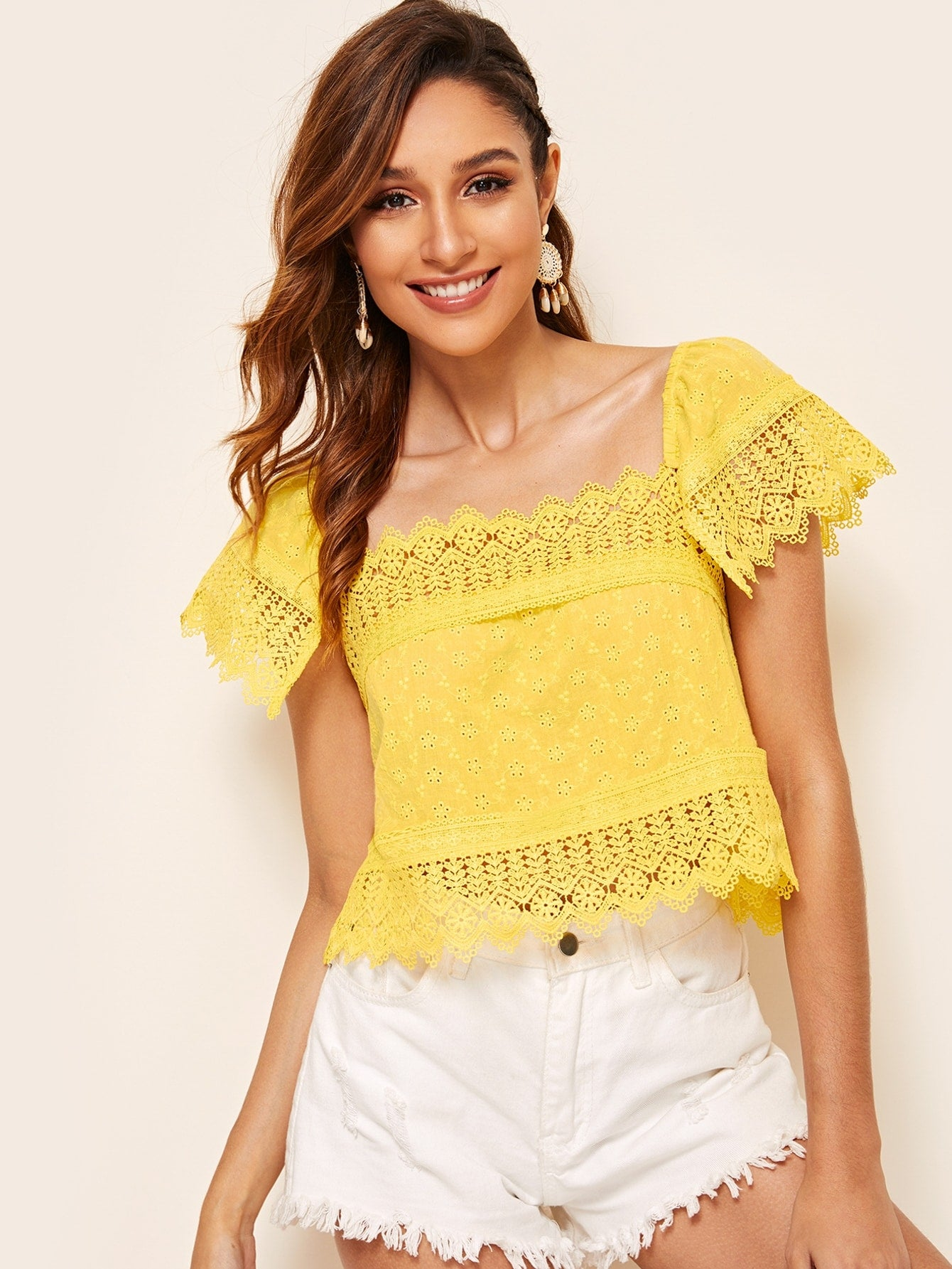 Square Neck Guipure Lace Trim Schiffy Top