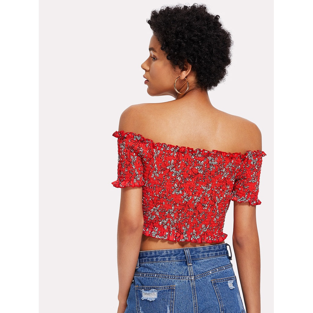 38d5d019633651 ... Lace Up Shirred Bardot Crop Top Red ...
