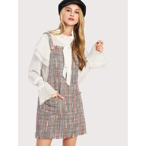 Fringe Trim Tweed Overall Dress