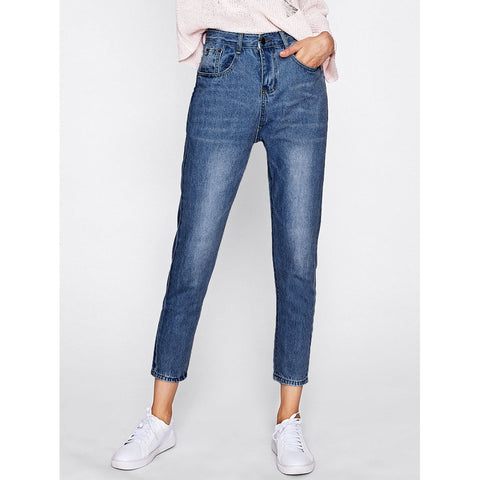 Bleach Wash Straight Jeans Navy