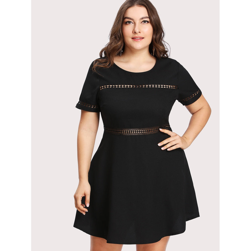 Laser Cut Insert Dress - Anabella's