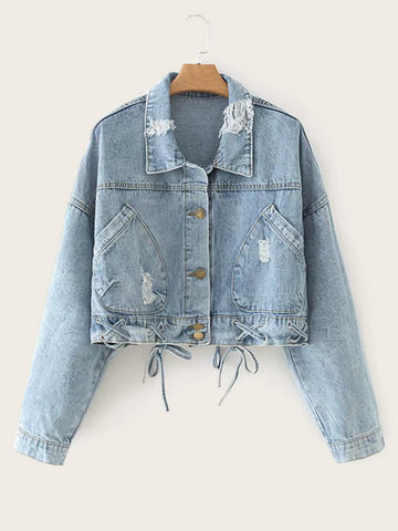 Ripped Lace-up Button Through Denim Jacket