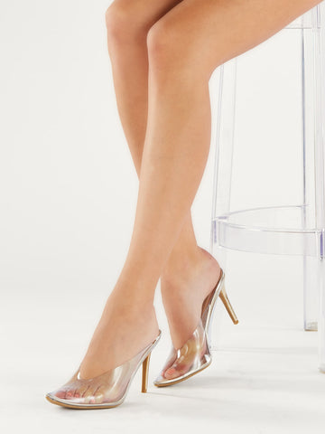 Metallic Pointed Toe Lucite Stiletto Heel Mules
