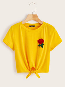 Embroidery Flower Patched Knot Tee
