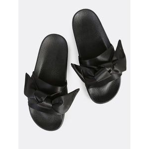 Bow Band Flat Slides BLACK - Anabella's