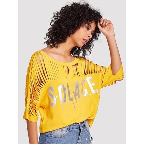 Silver Print Laddering Strap T-shirt Yellow