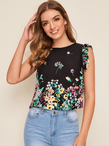 Botanical Print Ruffle Trim Top