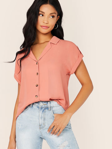 Notched Neck Cuffed Sleeve Button Front Shirt