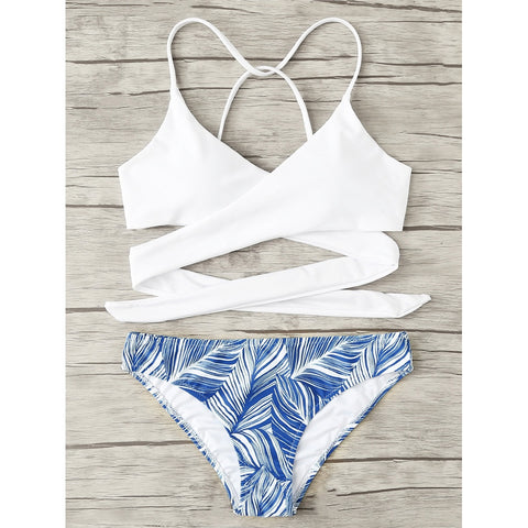 Crisscross Tropical Print Bikini Set MULTI