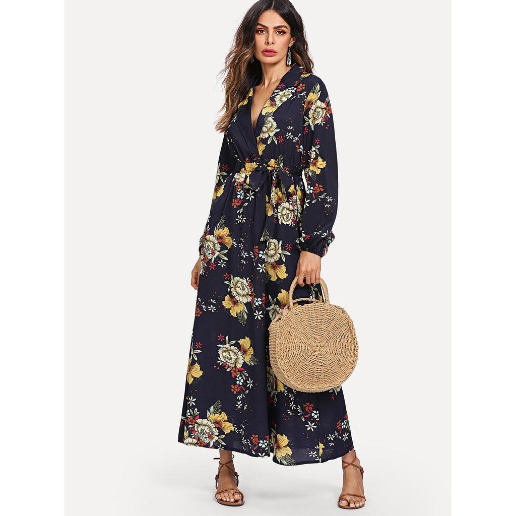 Lantern Sleeve Surplice Wrap Floral Dress Navy