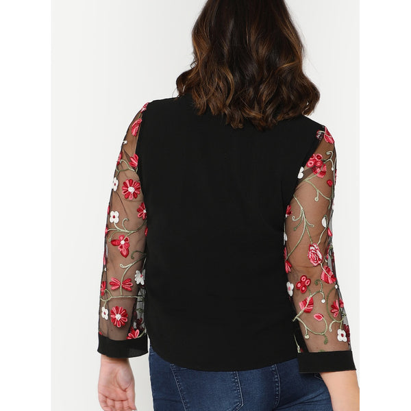 Flower Embroidered Mesh Sleeve Top - Anabella's