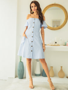 Button Front Off Shoulder Striped Dress