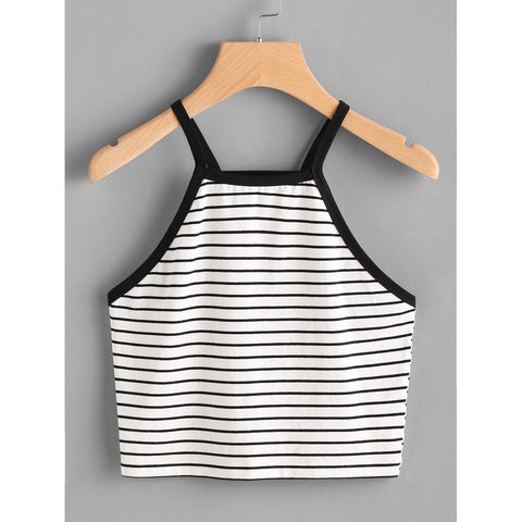 Contrast Binding Crop Striped Cami Top