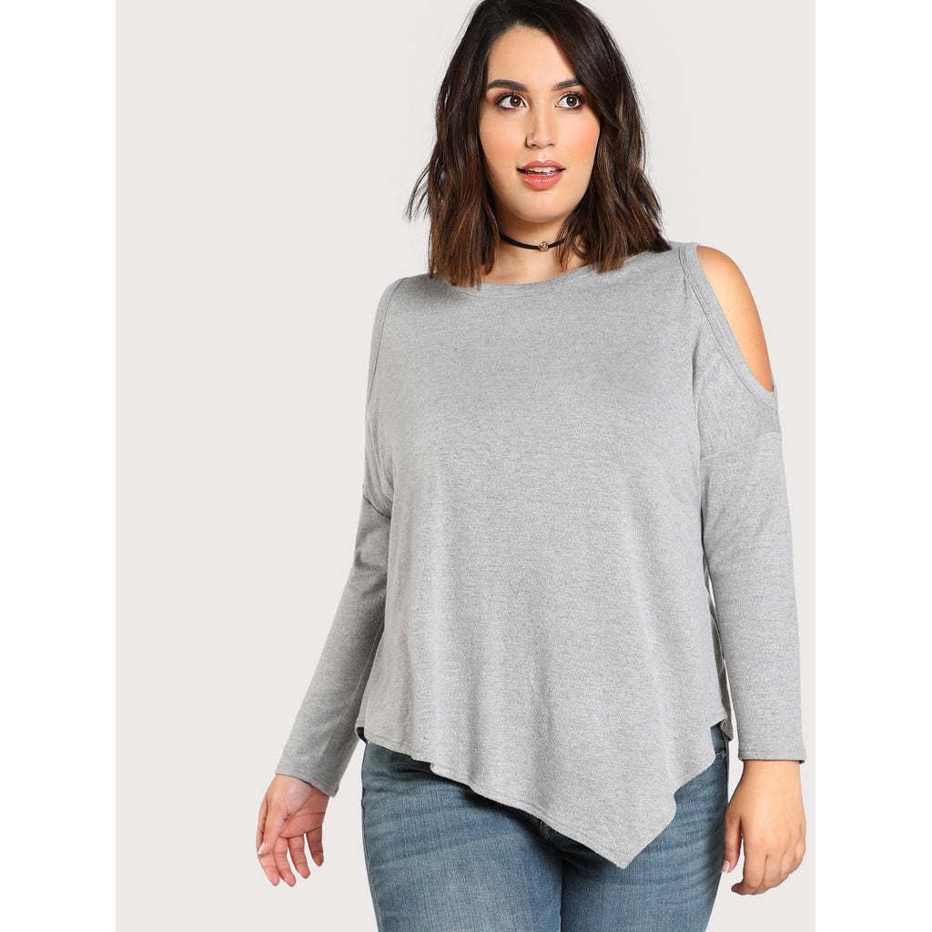 Open Shoulder Asymmetric Hem T-shirt - Anabella's