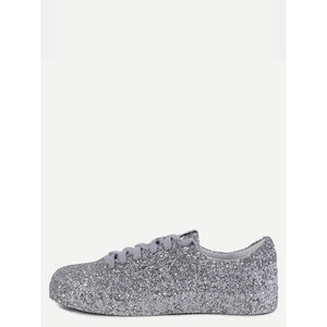 Silver Sequin Leather Low Top Sneakers - Anabella's