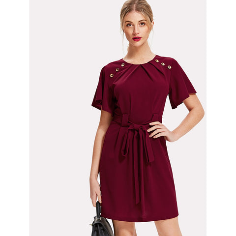Pleated Buttoned Neck Tie Waist Dress