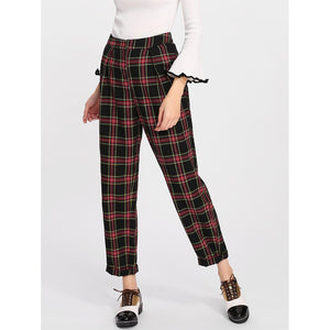 Rolled Up Hem Plaid Carrot Pants
