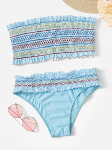 Smocked Bandeau With Frill Hem Bikini Set