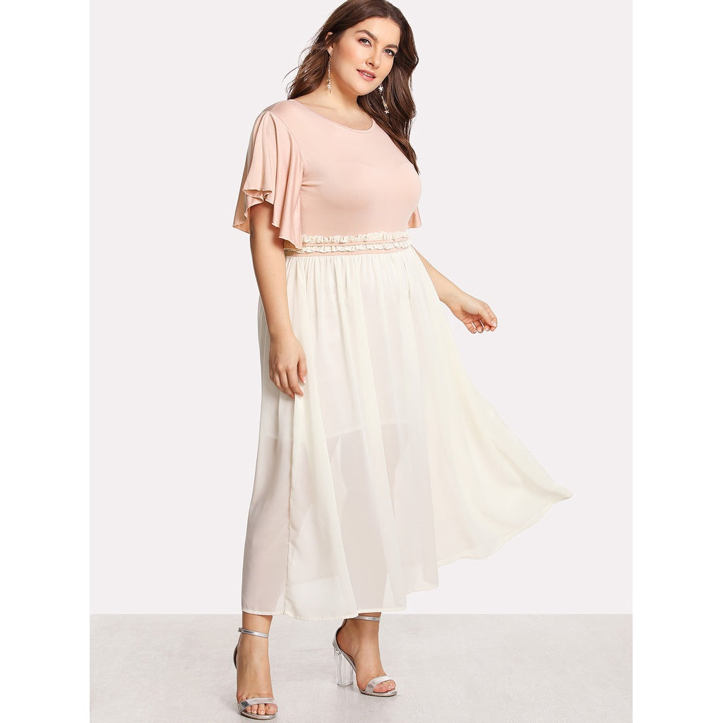 Flutter Sleeve Frilled Two Tone Dress PINK - Anabella's