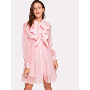Bow Embellished Placket Shirt Dress