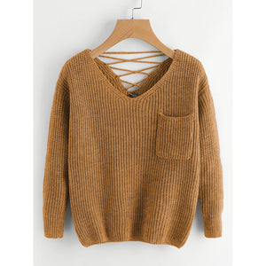 Double V Lace Up Back Chunky Knit Jumper Khaki