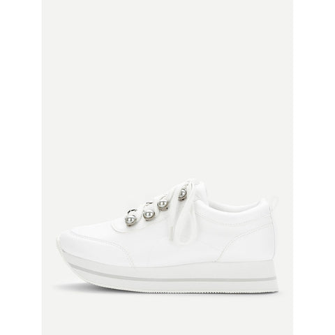 Faux Pearl Decorated Lace Up Sneakers