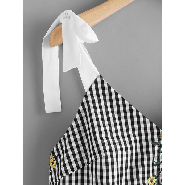 Sash Tie Shoulder Blossom Embroidered Ruffle Gingham Top - Anabella's