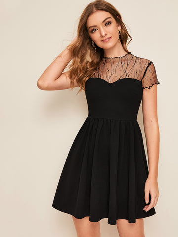 Sheer Mesh Yoke Fit & Flare Dress