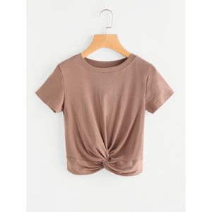 Twisted Front Crop T-shirt Khaki