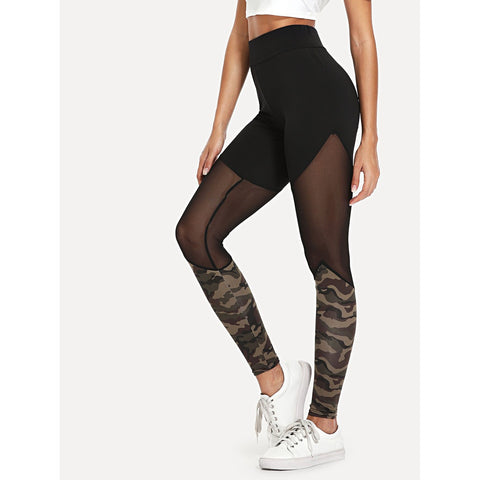 Sheer Mesh Panel Colorblock Leggings