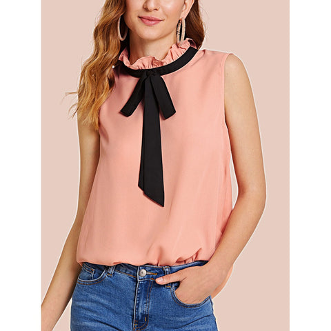 Frilled Contrast Tie Neck Shell Top Pink
