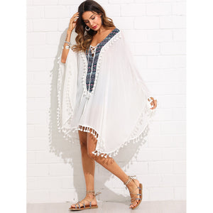 Aztec Print Tassel Trim Cover Up