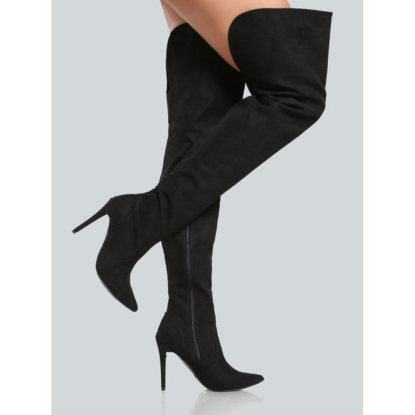 Faux Suede Pointy Toe Thigh High Pump - Anabella's