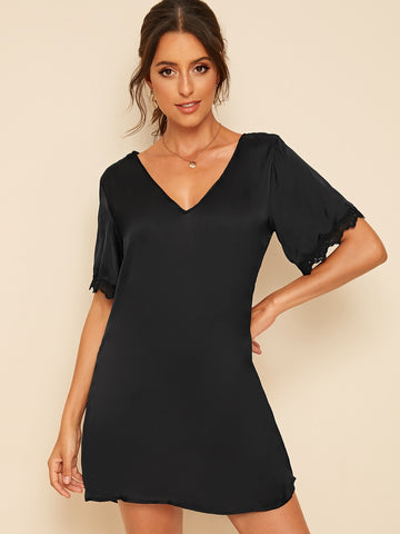 Solid Lace Insert Tunic Dress