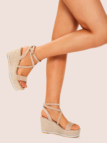 Suede Open Toe Ankle Strap Wedges