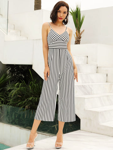 Zip Back Striped Cami Jumpsuit