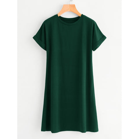 Rolled Sleeve Basic Tee Dress Green