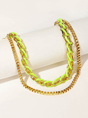Double Layered Woven Detail Necklace 1pc
