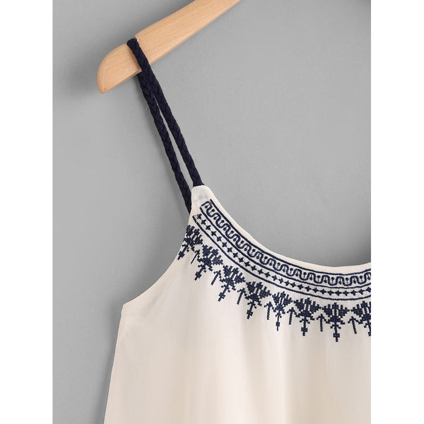 Embroidered Chiffon Cami Top - Anabella's
