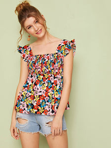 Allover Floral Print Shirred Blouse