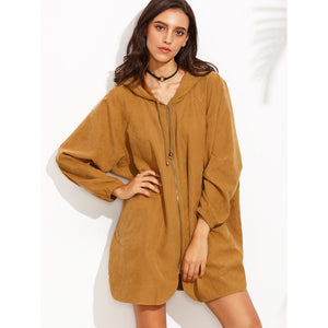 Brown Zipper Front Hooded Long Sleeve Outerwear