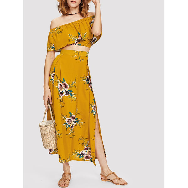 Bardot Floral Print Crop Top With Slit Side Skirt YELLOW