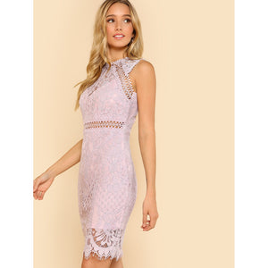 Fitted Lace Overlay Dress LAVENDER
